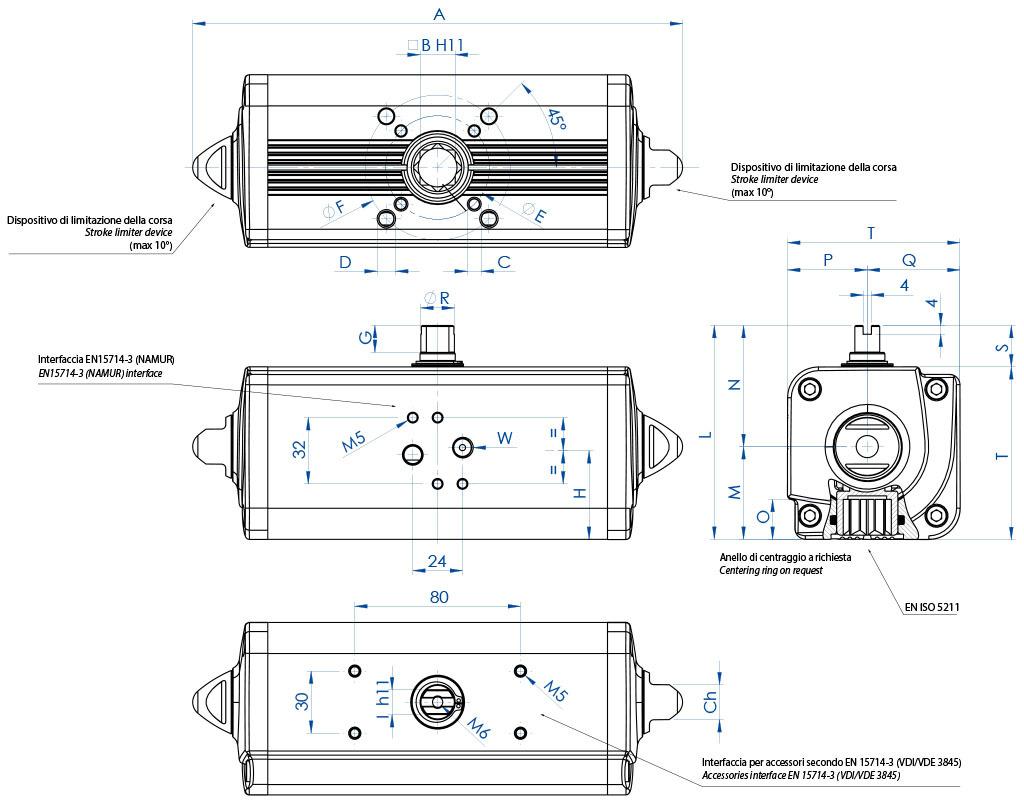 Doppeltwirkender pneumatischer Stellantrieb GD aus Aluminium - abmessungen - Doppeltwirkender Antrieb Baugröße von GD15 (Nm) bis GD1920 (Nm)