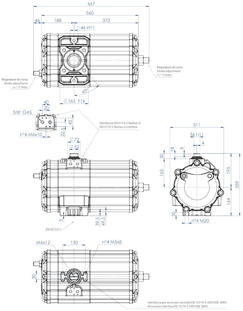 Doppeltwirkender pneumatischer Stellantrieb GD aus Aluminium - abmessungen - Doppeltwirkender pneumatischer Stellantrieb Baugröße GD 2880 (Nm)