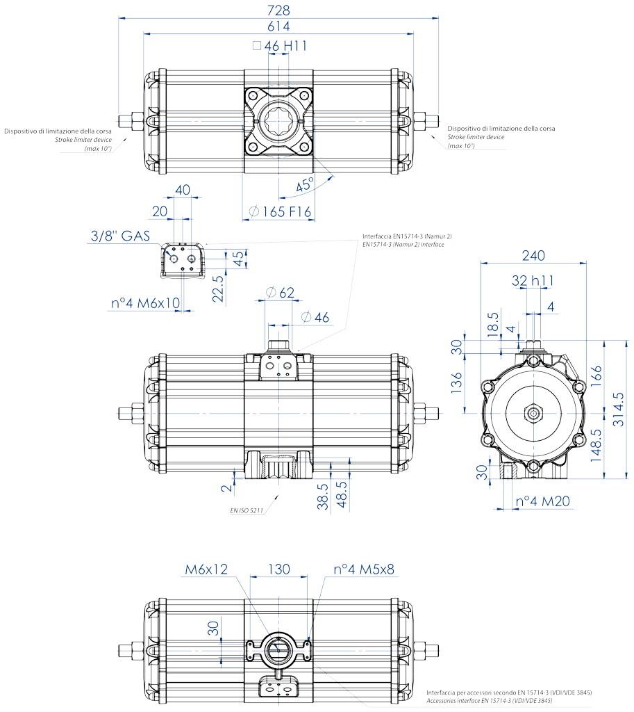 Doppeltwirkender pneumatischer Stellantrieb GD aus Aluminium - abmessungen - Doppeltwirkender pneumatischer Stellantrieb Baugröße GD 3840 (Nm)