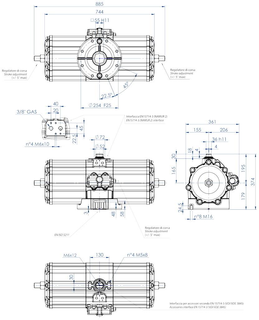 Doppeltwirkender pneumatischer Stellantrieb GD aus Aluminium - abmessungen - Doppeltwirkender pneumatischer Stellantrieb Baugröße GD 5760 (Nm)