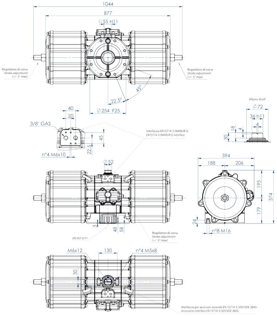 Doppeltwirkender pneumatischer Stellantrieb GD aus Aluminium - abmessungen - Doppeltwirkender pneumatischer Stellantrieb Baugröße GD 8000 (Nm)