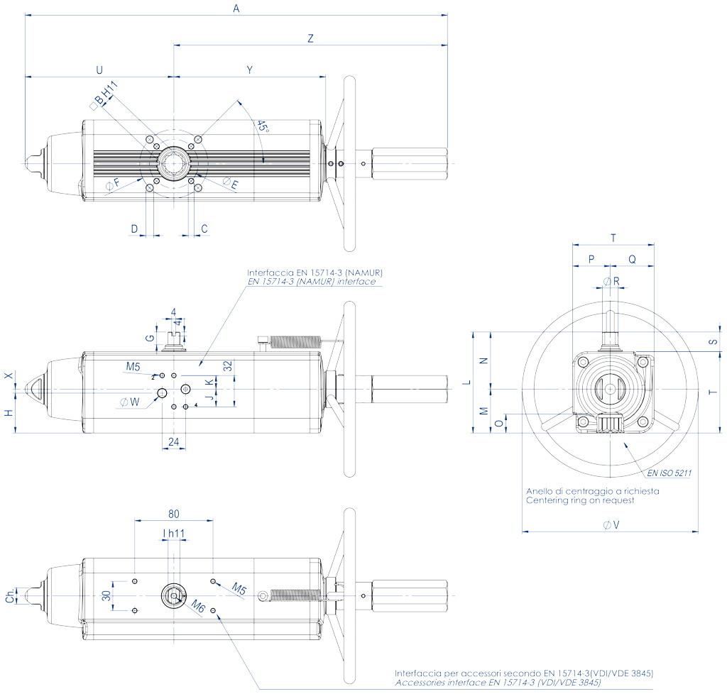Einfachwirkender pneumatischer Stellantrieb GSV mit integrierter Handsteuerung - abmessungen - GSV30 ÷ GSV960