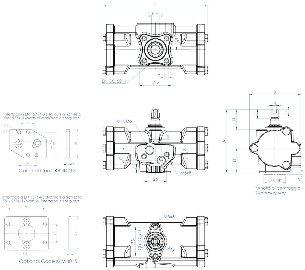 Doppeltwirkender pneumatischer Stellantrieb GD aus Edelstahl CF8M Mikroguss - abmessungen - GD15 ÷ GD30