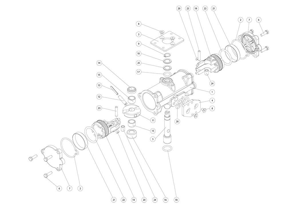 Doppeltwirkender pneumatischer Stellantrieb GD aus Edelstahl CF8M Mikroguss - werkstoffe - BESTANDTEILE DOPPELTWIRKENDER PNEUMATISCHER STELLANTRIEB GD CF8M MIKROGUSS BAUGRÖSSE: GD15-GD30