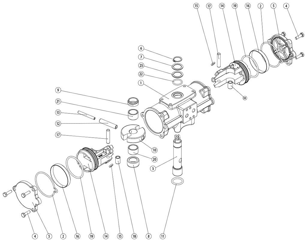 Doppeltwirkender pneumatischer Stellantrieb GD aus Edelstahl CF8M Mikroguss - werkstoffe - BESTANDTEILE DOPPELTWIRKENDER PNEUMATISCHER STELLANTRIEB GD CF8M MIKROGUSS BAUGRÖSSE: GD60-GD480