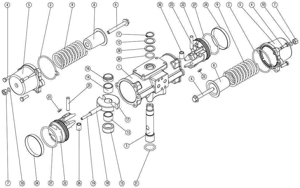 Einfachwirkender pneumatischer Stellantrieb GS aus Edelstahl CF8M Mikroguss - werkstoffe - BESTANDTEILE EINFACHWIRKENDER PNEUMATISCHER ANTRIEB GS CF8M MIKROGUSS BAUGRÖSSE: GS30-GS240