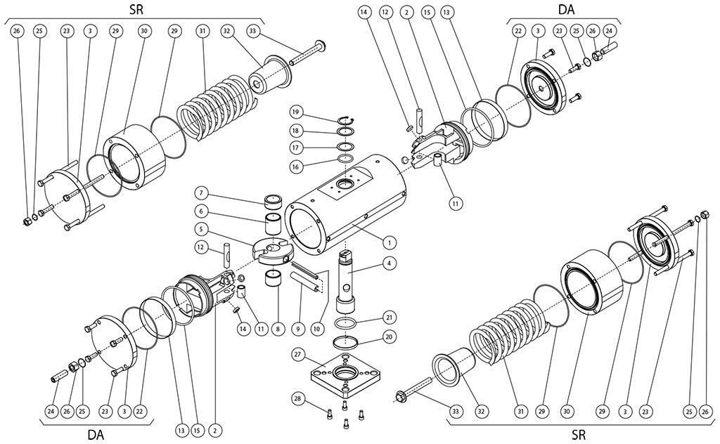 Einfachwirkender pneumatischer Stellantrieb GS aus Edelstahl 316 Strangguss - werkstoffe - BESTANDTEILE EINFACH- UND DOPPELTWIRKENDER PNEUMATISCHER STELLANTRIEB 316 STABSTAHL