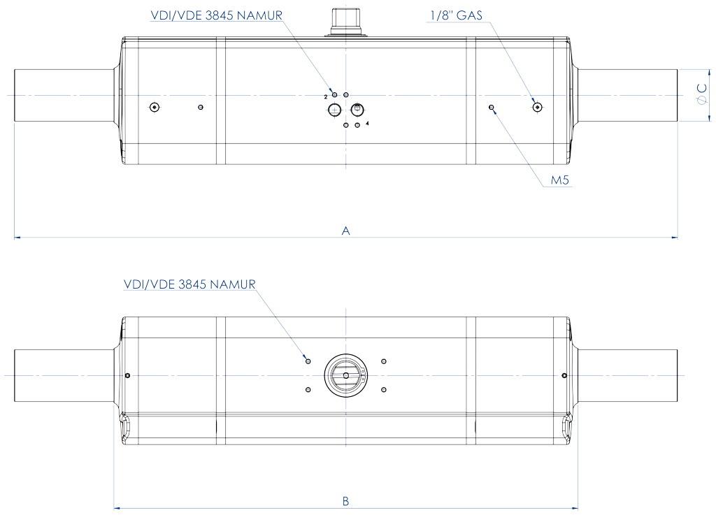 GDD Pneumatischer Dosierantrieb aus Aluminium - abmessungen -