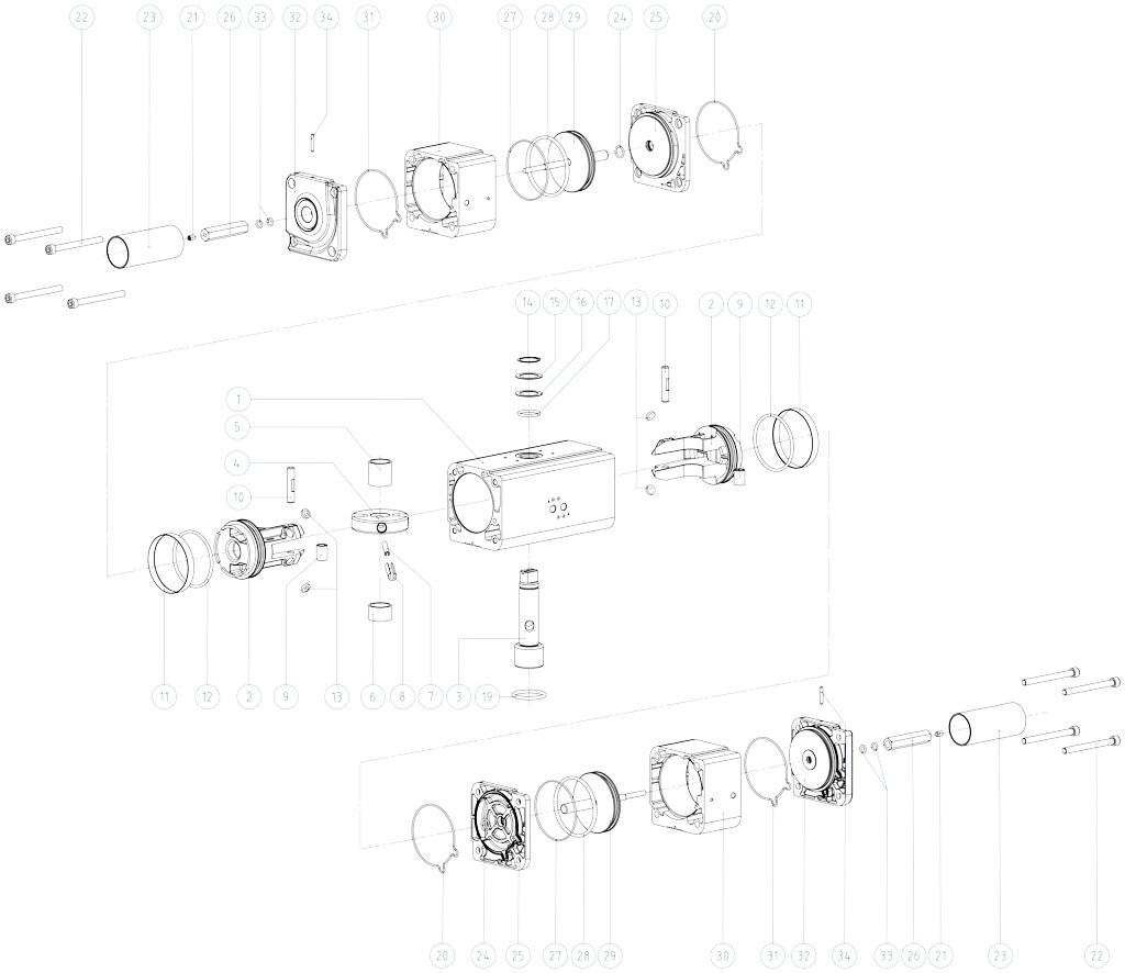 GDD Pneumatischer Dosierantrieb aus Aluminium - werkstoffe - BESTANDTEILE PNEUMATISCHER DOSIERANTRIEB BAUGRÖSSE: GDD30 - GDD480