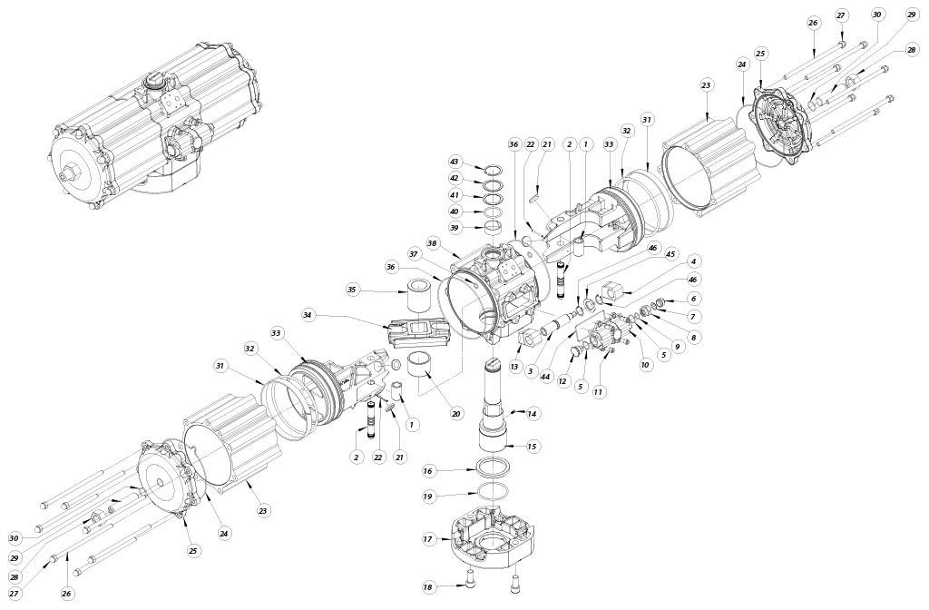 Doppeltwirkender pneumatischer Stellantrieb GD aus Aluminium - werkstoffe - BESTANDDTEILE DOPPELTWWIRKENDER PNEUMATISCHER STELLANTRIEB BAUGRÖSSE: GD5760
