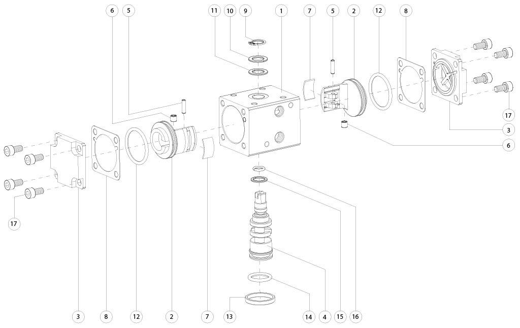 Doppeltwirkender pneumatischer Stellantrieb GD aus Aluminium - werkstoffe - BESTANDTEILE DOPPELTWIRKENDER PNEUMATISCHER STELLANTRIEB BAUGRÖSSE: GD8