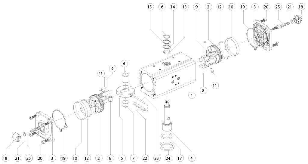Doppeltwirkender pneumatischer Stellantrieb GD aus Aluminium - werkstoffe - BESTANDTEILE DOPPELTWIRKENDER PNEUMATISCHER STELLANTRIEB BAUGRÖSSE: GD15-GD1920