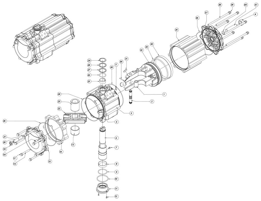 Doppeltwirkender pneumatischer Stellantrieb GD aus Aluminium - werkstoffe - BESTANDDTEILE DOPPELTWWIRKENDER PNEUMATISCHER STELLANTRIEB BAUGRÖSSE: GD2880
