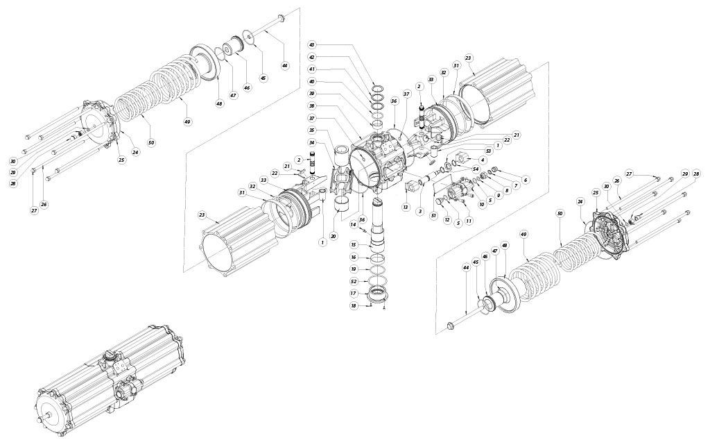 Einfachwirkender pneumatischer Stellantrieb GS aus Aluminium - werkstoffe - BESTANDTEILE EINFACHWIRKENDER PNEUMATISCHER STELLANTRIEB BAUGRÖSSE: GS2880