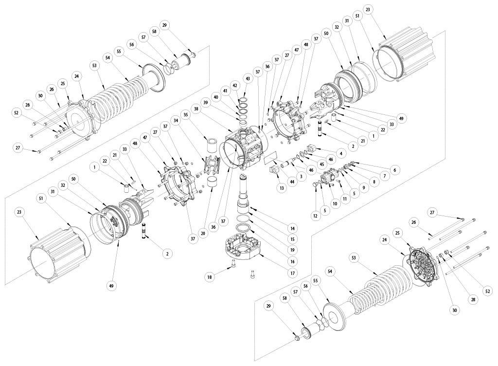 Einfachwirkender pneumatischer Stellantrieb GS aus Aluminium - werkstoffe - BESTANDTEILE EINFACHWIRKENDER PNEUMATISCHER STELLANTRIEB BAUGRÖSSE: GS4000