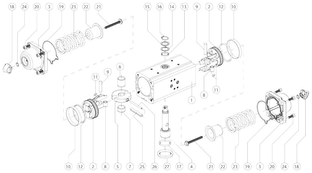 Einfachwirkender pneumatischer Stellantrieb GS aus Aluminium - werkstoffe - BESTANDTEILE EINFACHWIRKENDER PNEUMATISCHER STELLANTRIEB BAUGRÖSSE: GS15-GS960