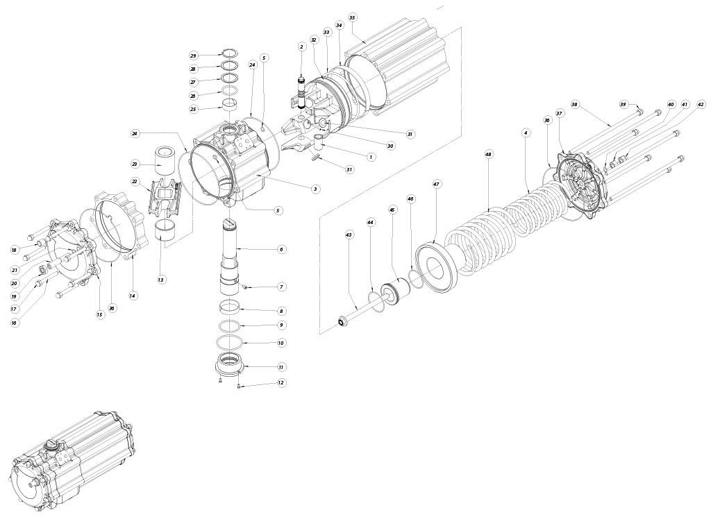 Einfachwirkender pneumatischer Stellantrieb GS aus Aluminium - werkstoffe - BESTANDTEILE EINFACHWIRKENDER PNEUMATISCHER STELLANTRIEB BAUGRÖSSE: GS1440