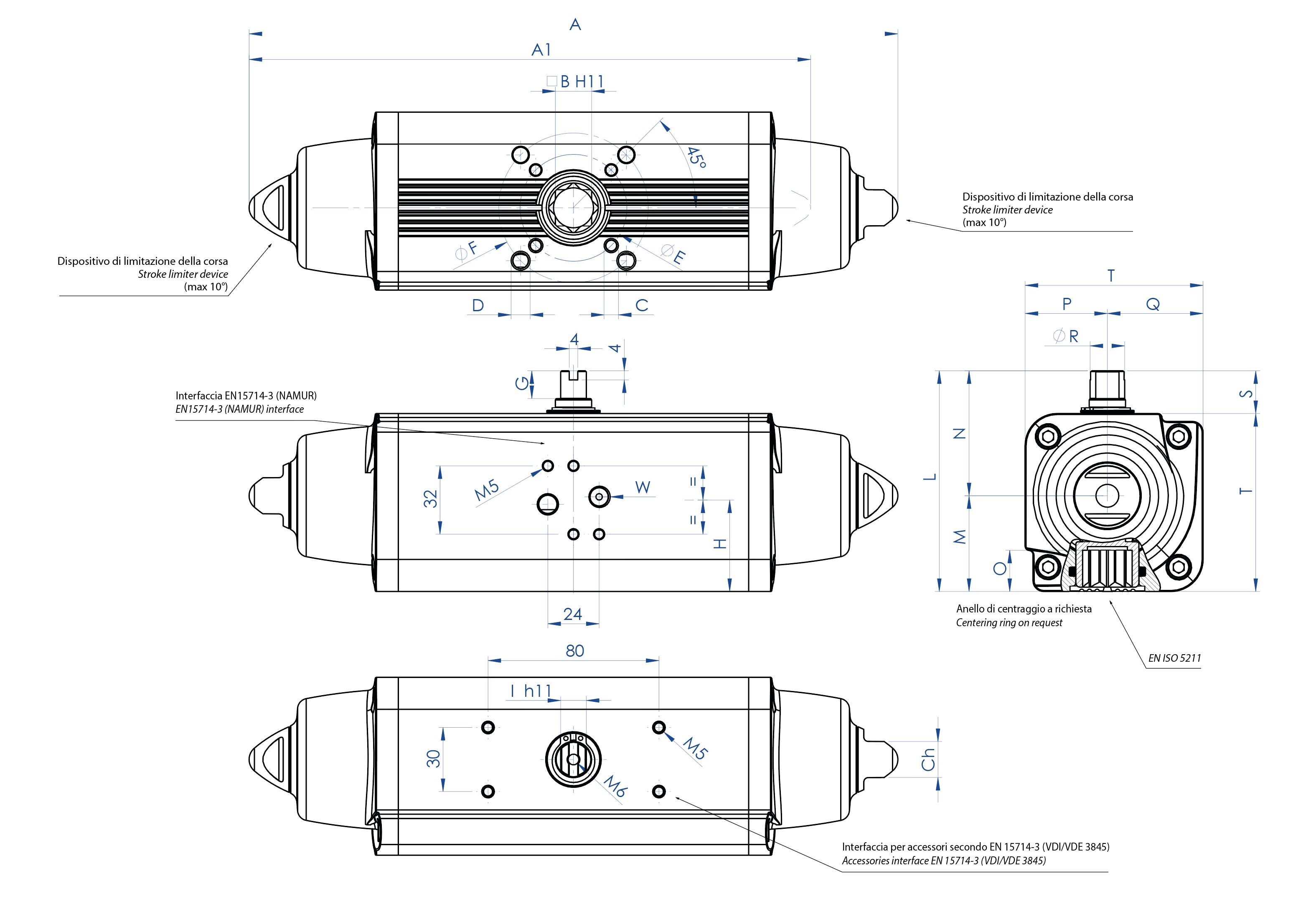 Einfachwirkender pneumatischer Stellantrieb GS aus Aluminium - abmessungen - Einfachwirkender pneumatischer Stellantrieb Baugröße von GS15 (Nm) bis GS960 (Nm)