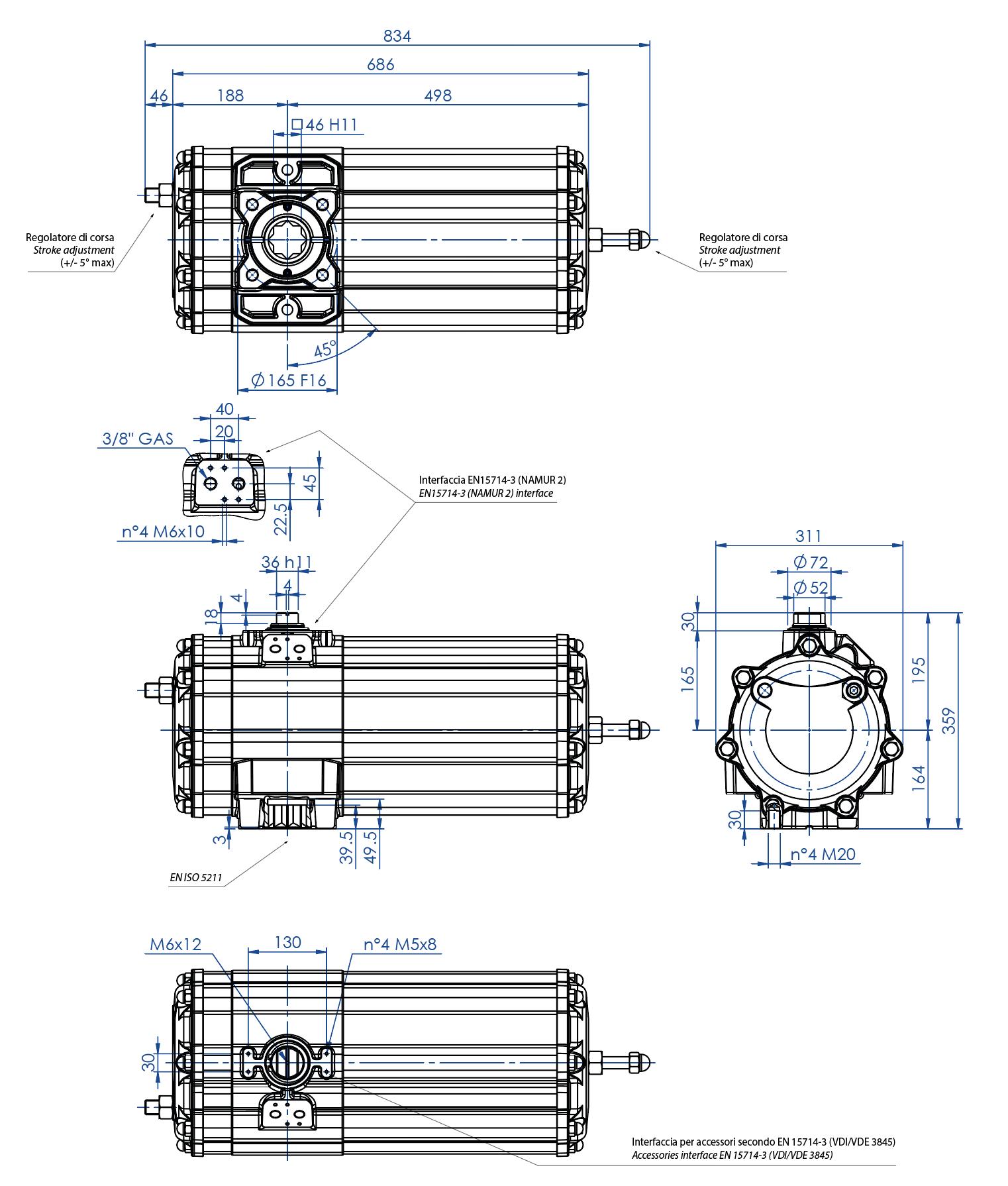 Einfachwirkender pneumatischer Stellantrieb GS aus Aluminium - abmessungen - Einfachwirkender pneumatischer Stellantrieb Baugröße GS 1440 (Nm)