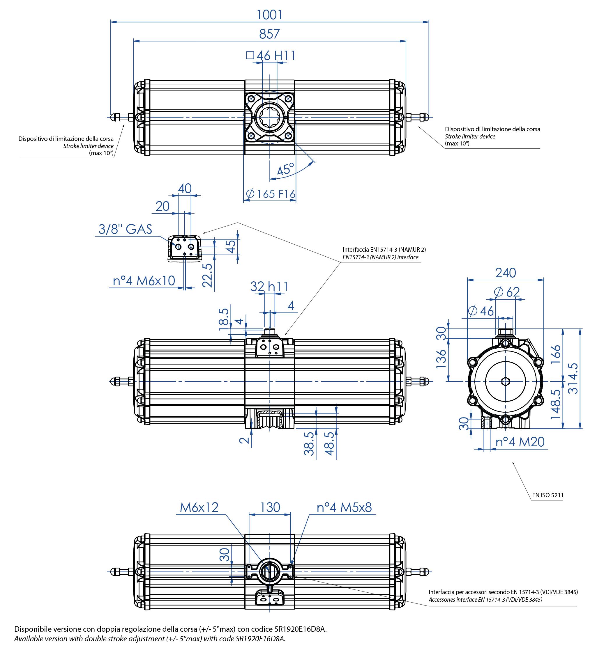 Einfachwirkender pneumatischer Stellantrieb GS aus Aluminium - abmessungen - Einfachwirkender pneumatischer Stellantrieb Baugröße GS 1920 (Nm)