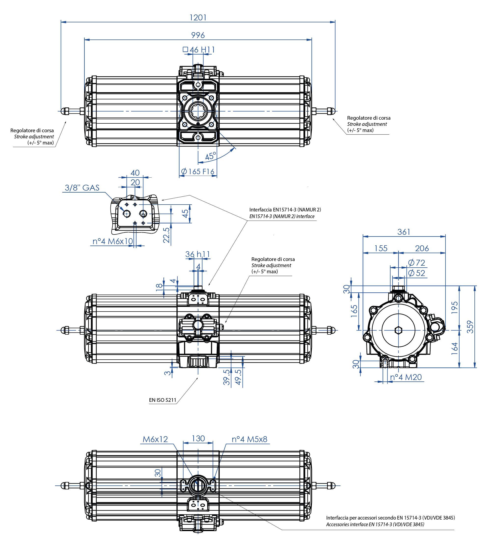 Einfachwirkender pneumatischer Stellantrieb GS aus Aluminium - abmessungen - Einfachwirkender pneumatischer Stellantrieb Baugröße GS 2880 (Nm)