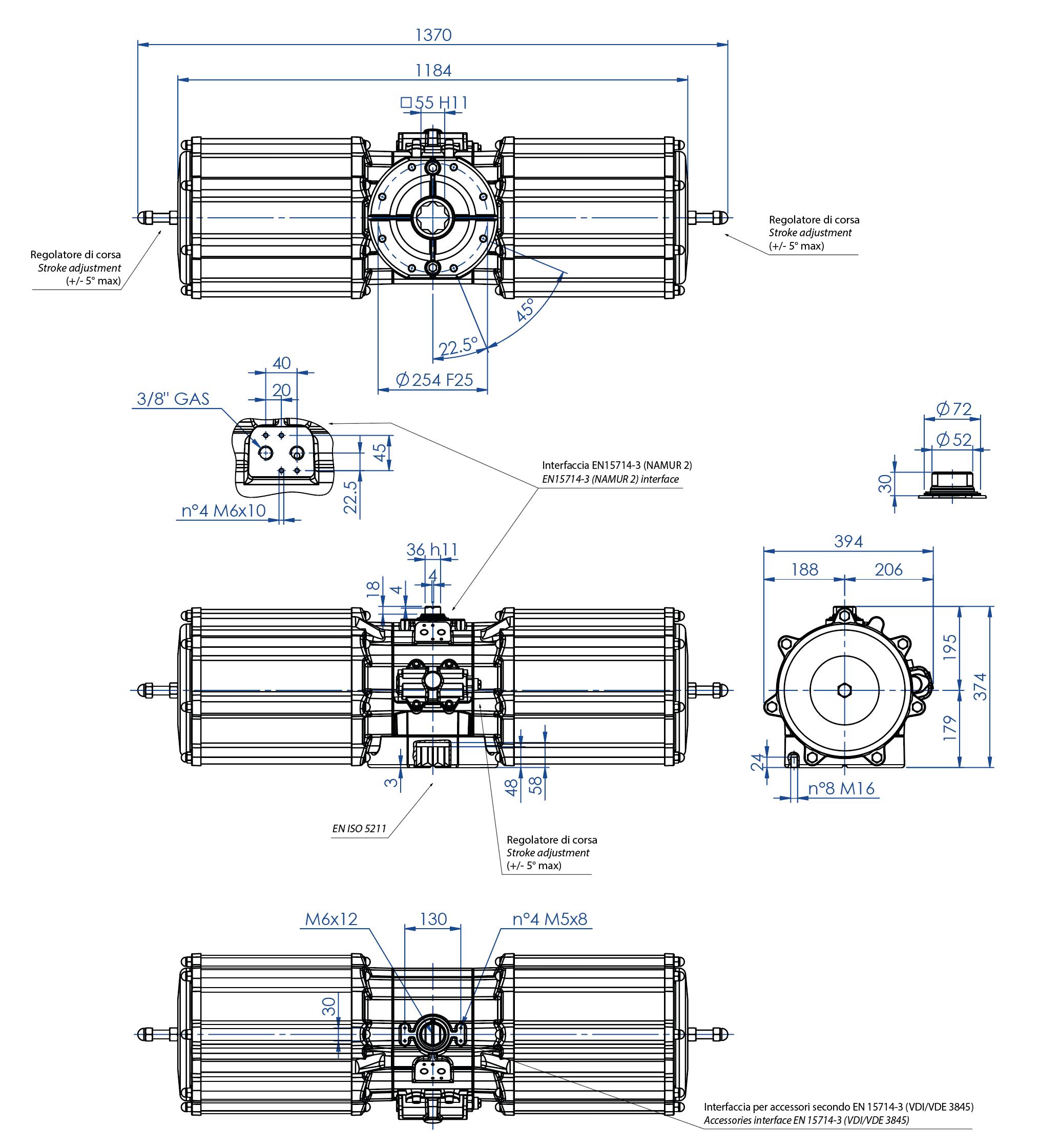 Einfachwirkender pneumatischer Stellantrieb GS aus Aluminium - abmessungen - Einfachwirkender pneumatischer Stellantrieb Baugröße GS 4000 (Nm)