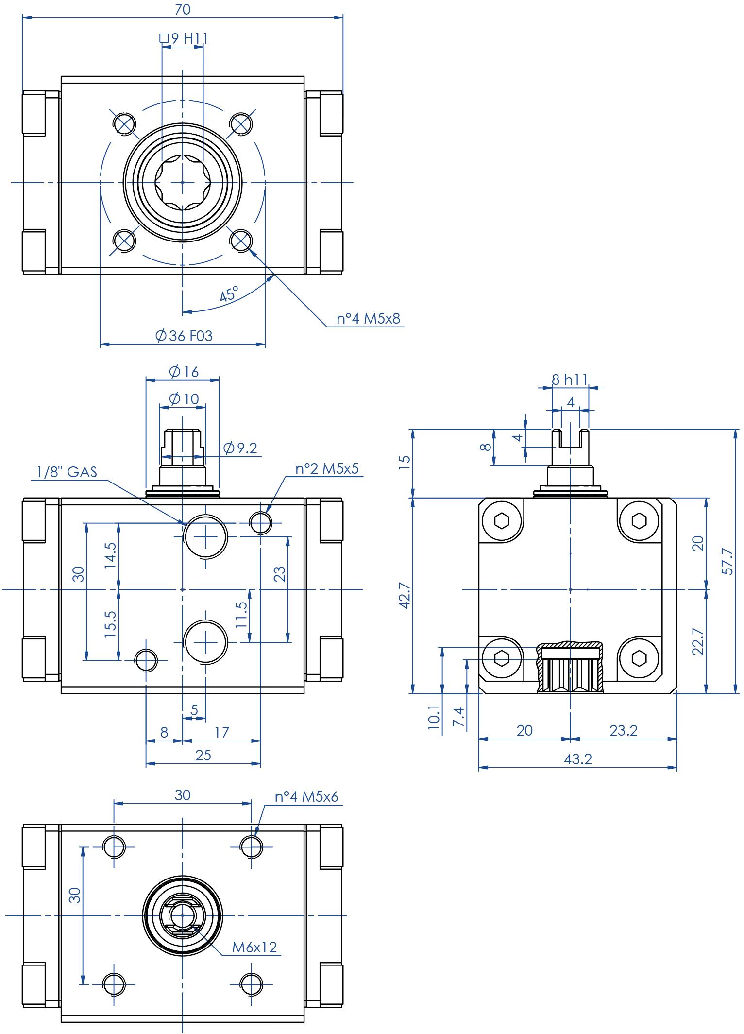 Doppeltwirkender pneumatischer Stellantrieb GD aus Aluminium - abmessungen - Doppeltwirkender Antrieb Baugröße GD08 (Nm)