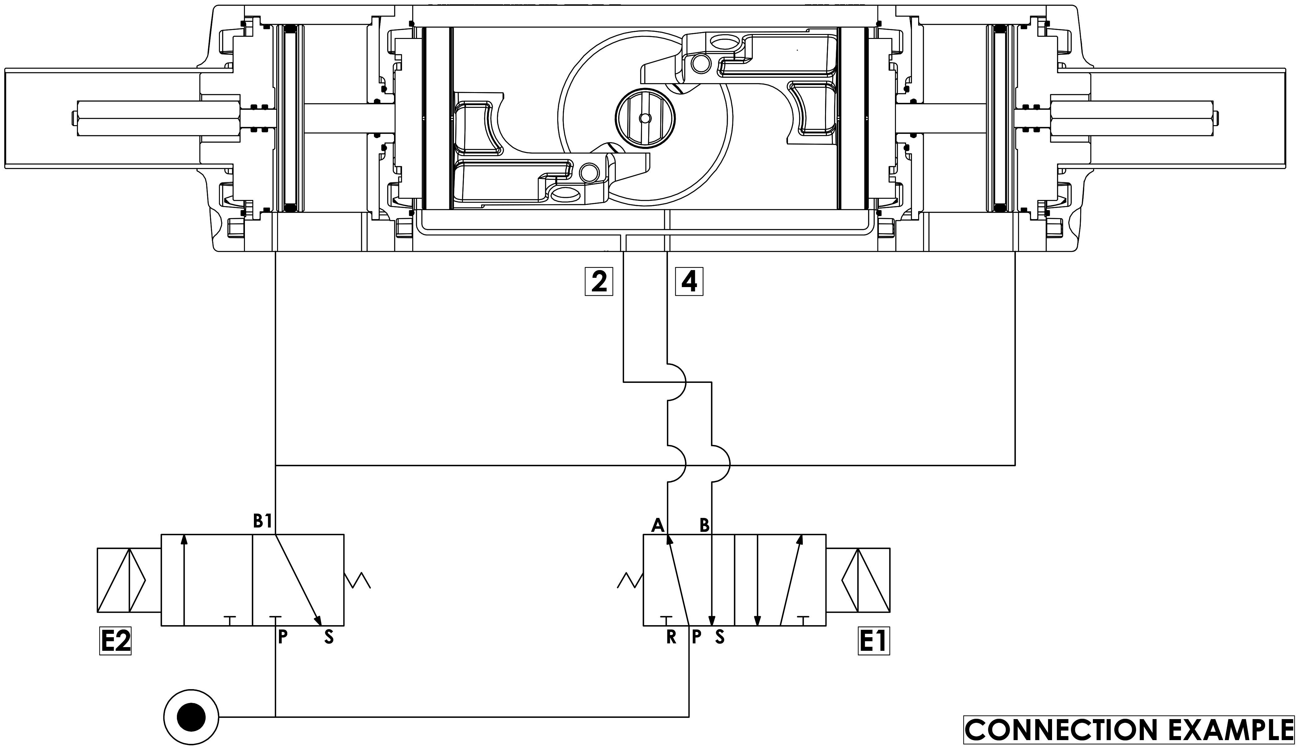GDD Pneumatischer Dosierantrieb aus Aluminium - merkmale - Funktionsschema