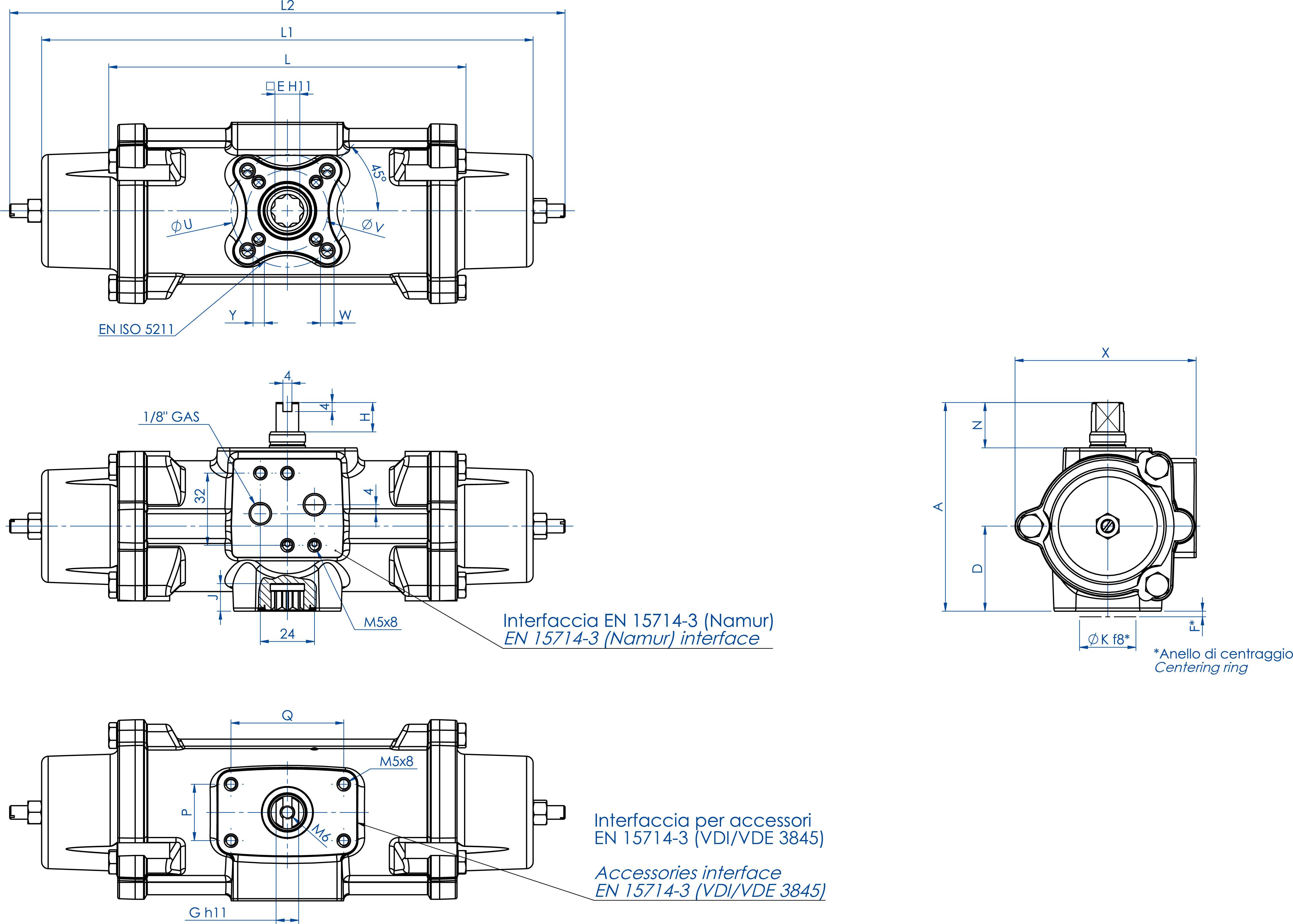 Einfachwirkender pneumatischer Stellantrieb GS aus Edelstahl CF8M Mikroguss - abmessungen - GS30 ÷ GS240