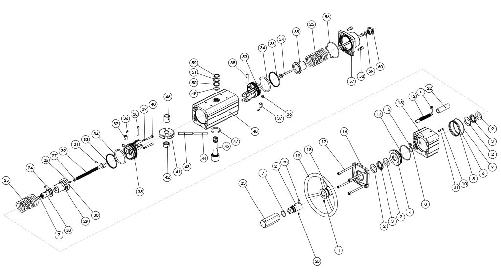 Einfachwirkender pneumatischer Stellantrieb GSV mit integrierter Handsteuerung - werkstoffe - BESTANDTEILE EINFACHWIRKENDER PNEUMATISCHER STELLANTRIEB MIT INTEGRIERTEM HANDRAD - BAUGRÖSSE: BIS GSV960