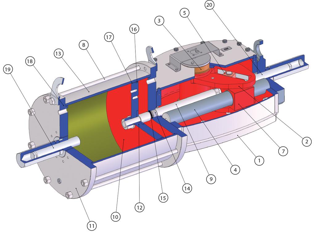 Doppeltwirkender pneumatischer Stellantrieb GD Heavy Duty Carbonstahl - werkstoffe -