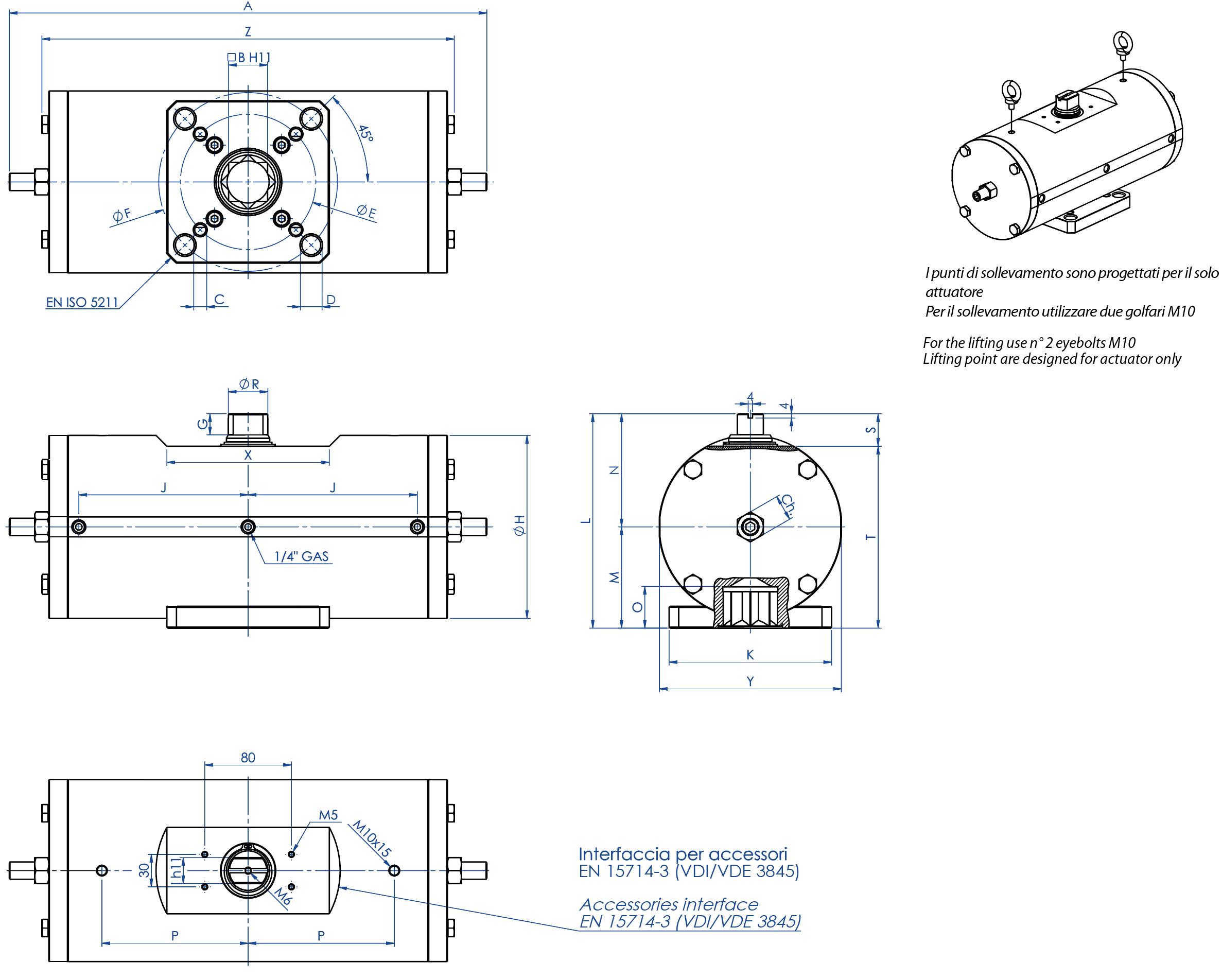 Doppeltwirkender pneumatischer Stellantrieb GD aus Edelstahl 316 Stabstahl - abmessungen -