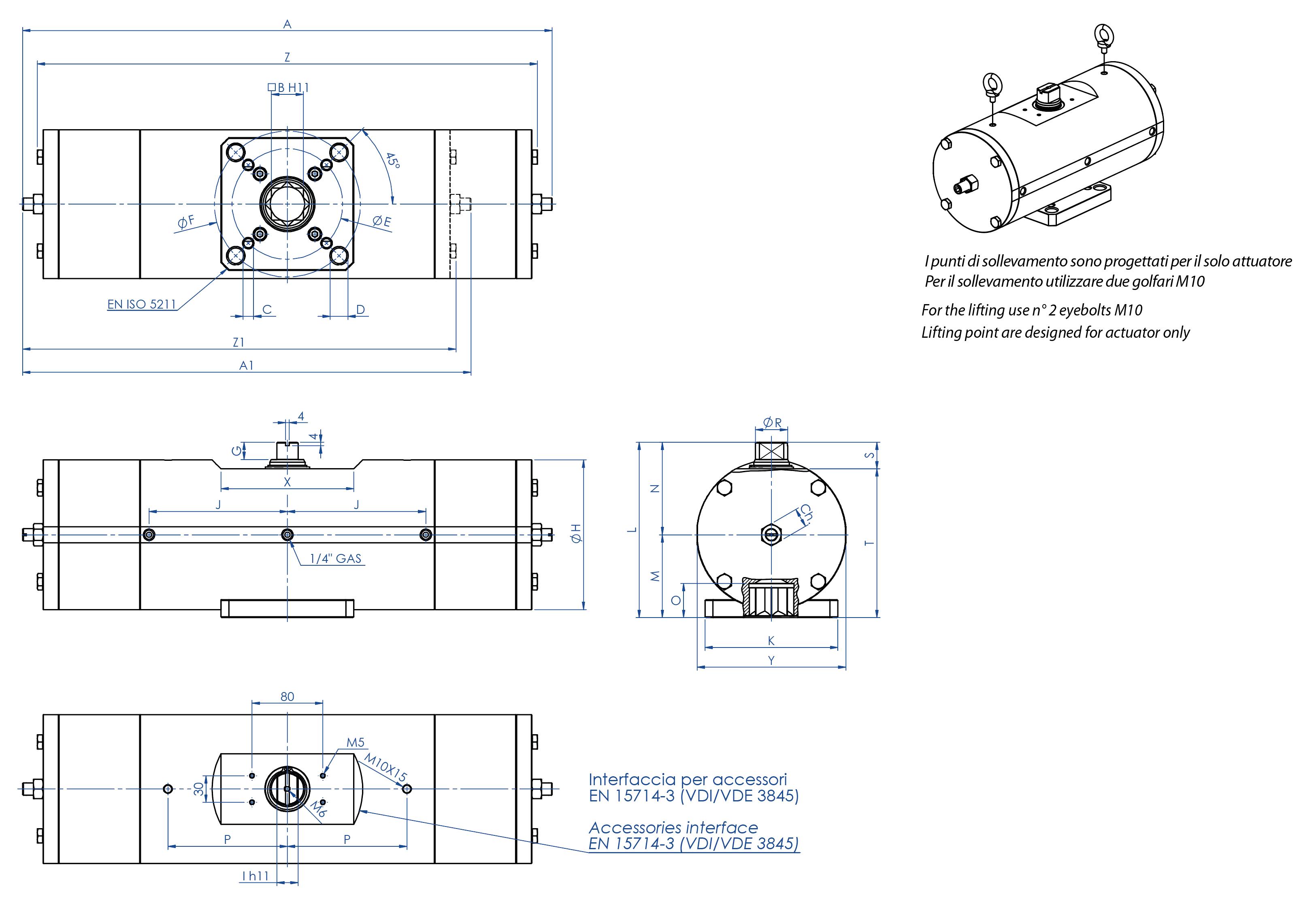 Einfachwirkender pneumatischer Stellantrieb GS aus Edelstahl 316 Strangguss - abmessungen -