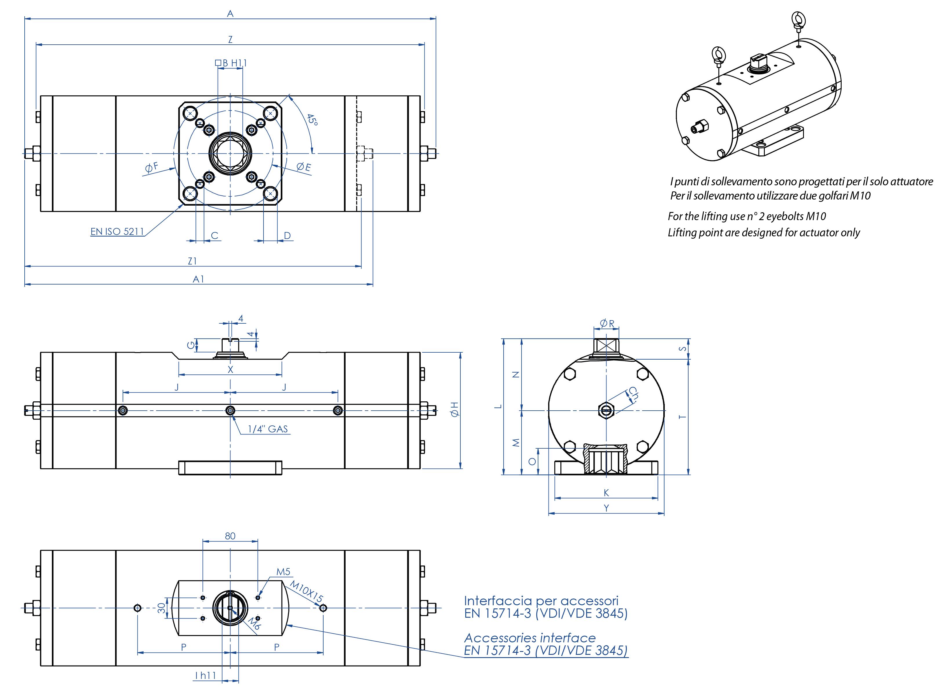 Einfachwirkender pneumatischer Stellantrieb GS aus Kohlenstoffstahl A105 - abmessungen -
