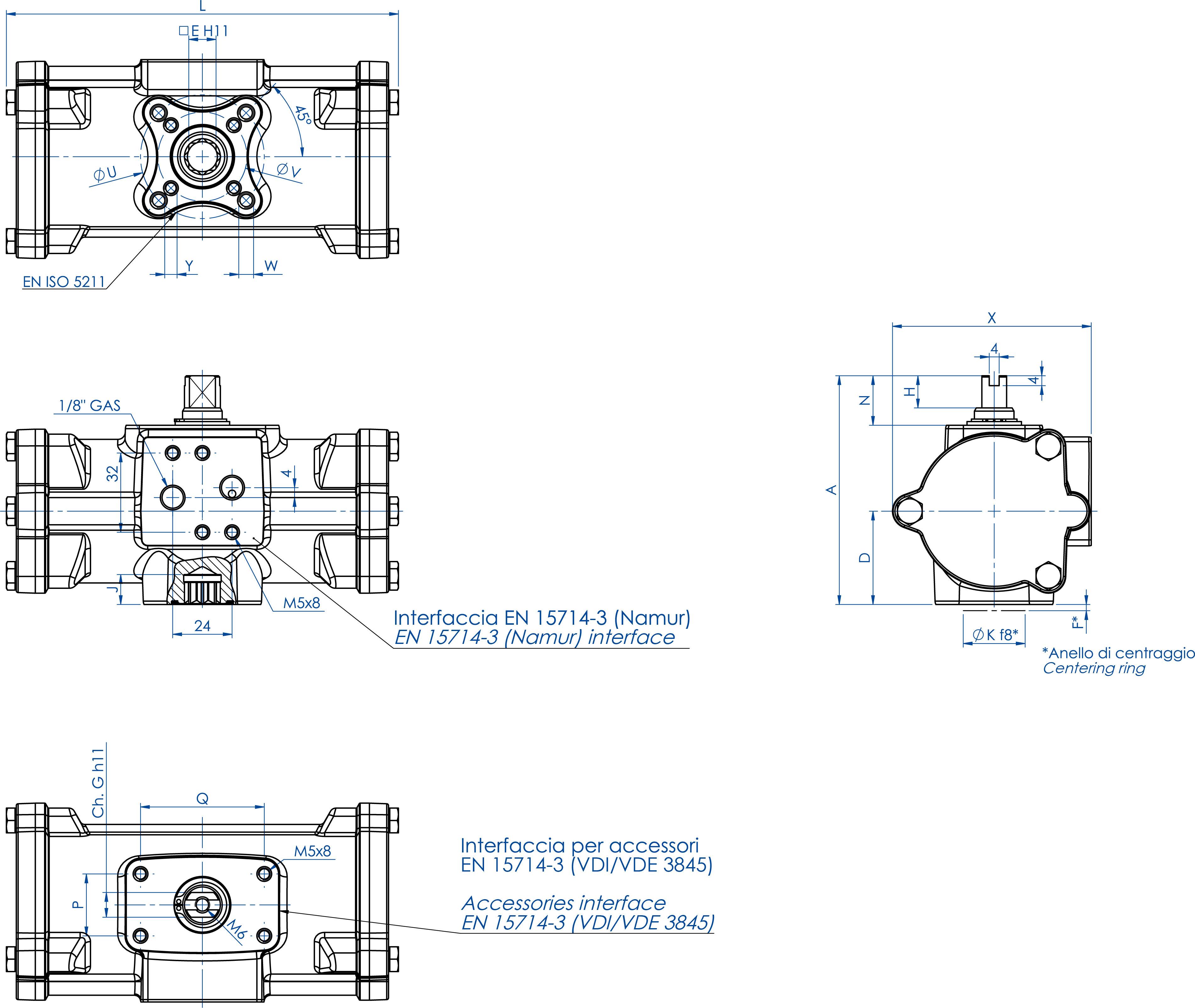 Doppeltwirkender pneumatischer Stellantrieb GD aus Edelstahl CF8M Mikroguss - abmessungen - GD60 ÷ GD480